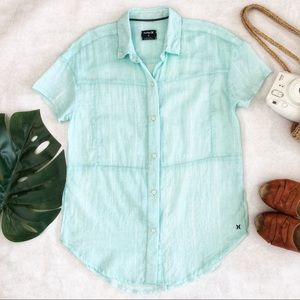 Hurley Button Down Top Size S EUC